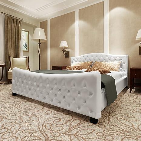 Anself Polsterbett Kunstlederbett Doppelbett Bett Ehebett 180 x 200cm mit Matratze Weiß