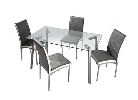 Conjunto de comedor 4 sillas tapizado gris Amelia y mesa cristal transparente 140x80