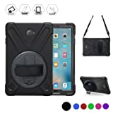 Samsung Galaxy Tab A 10.1 with S Pen Case, TSQ Heavy Duty, Rugged Protective Case With Hand Grip, Shoulder Strap & 360 Rotating stand, For Tab A 10.1 Inch Tablet Cover (SM-P580 P585) For Kids Black