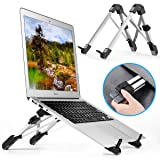 Portable Laptop Stand Foldable Adjustable Laptop Stand Holder Universal Ergonomic Aluminium Alloy Travel Mini Ventilated Notebook Stand for MacBook Computer PC iPad Tablet with Flannelette Bag (Gray) (Color: Gray)