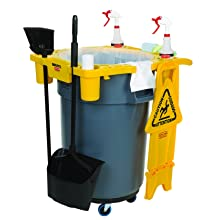 "Rubbermaid Commercial FG9W8700 Polypropylene Brute Rim Caddy for Container, 32.5"" Length x 26.5"" Width x 6.75"" Height, Yellow"