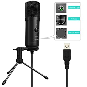 USB Microphone, Recording Microphone Plug &Play Metal Studio