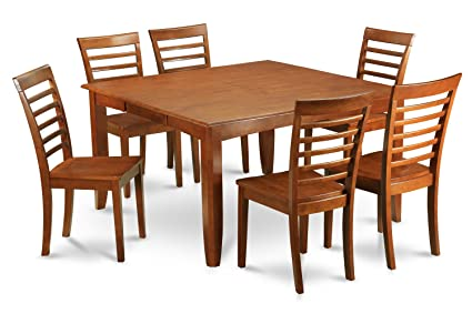 East West Furniture PFML9-SBR-W 9-Piece Formal Dining Table Set