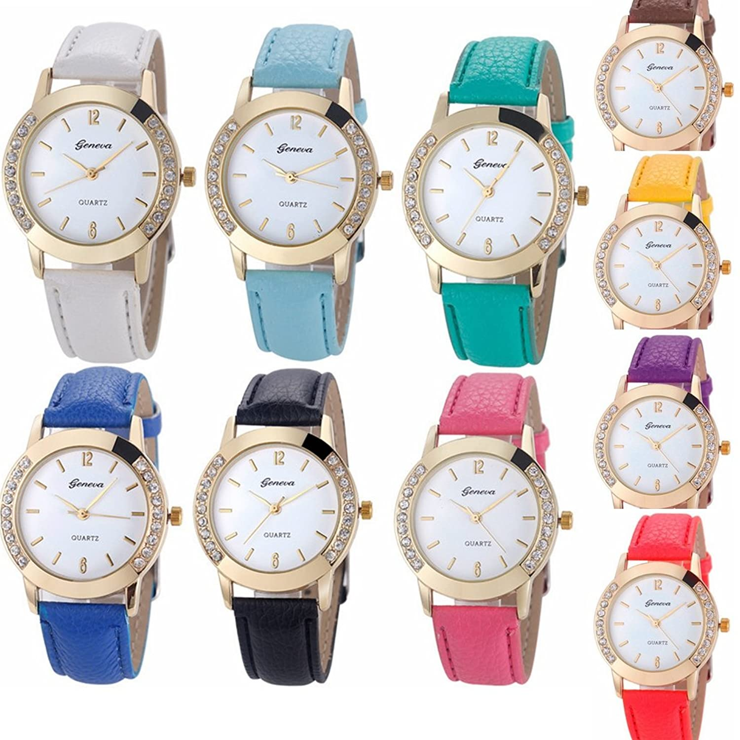 Yunan 10 Pack Wholesale Geneva Women Watches Leather Rhinestone Inlaid Quartz Jelly Dress Wristwatch
