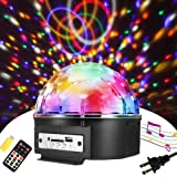 SOLMORE 9 Color LED Disco Ball Party Lights Strobe Light 18W Sound Activated DJ Lights Stage Lights for Club Party Gift Kids Birthday Wedding Decorations Home Karaoke Dance Light (with Remote) (Color: RGB)