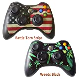2pcs Skin Stickers for Xbox 360 Controllers - Vinyl Leather Texture Sticker Slim Game Controller - Protectors Stickers Controller Decal - Battle Torn Strip&Weeds Black [ Controller Not Included ]