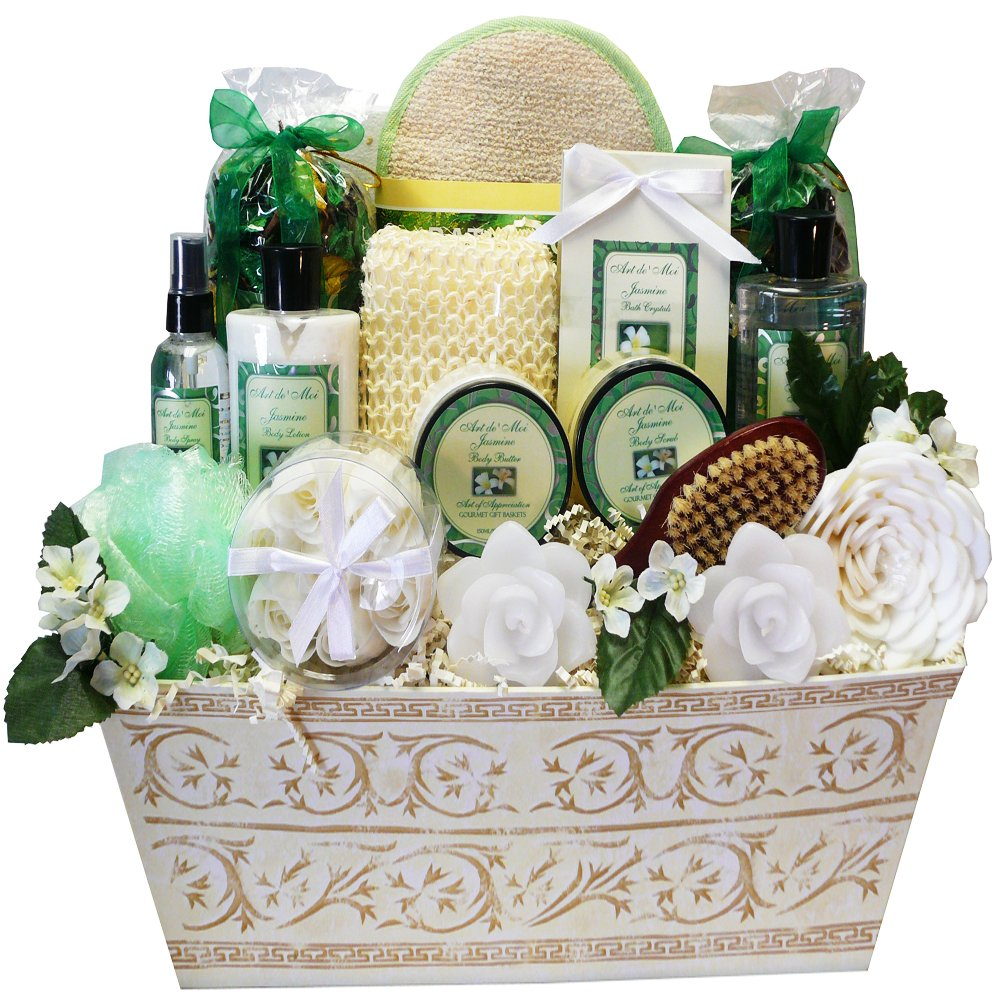 Art of Appreciation Gift Baskets Jasmine Renewal Spa Relaxing Bath and Body Gift Set - LARGE - Great Gift For ...