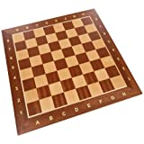 Requa Chess Board with Inlaid Wood and Ranks and Files (Numbers and Letters on Side) - Board Only – 15 Inch (Color: Brown, Tamaño: large)