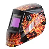 Antra AH6-660-6104 Solar Power Auto Darkening Welding Helmet with AntFi X60-6 Wide Shade Range 4/5-9/9-13 with Grinding Feature Extra Lens Covers Good for TIG MIG MMA Plasma (Color: Lion Fire, Tamaño: Extra Large Viewing Size 3.78''X2.5'')