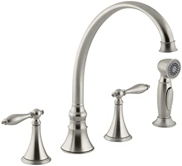 KOHLER K-377-4M-BN Finial Traditional Kitchen Sink Faucet with 9-3/16-Inch Spout Reach, Vibrant Brushed Nickel