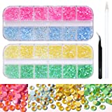 Luminous Nail Rhinestones, Flatback Fluorescent 3D Nail Decoration Charms with Multiple Color and Size Auroral Neon Glow in the Dark Beads for Nail Art & Accessories and Jewellery Making (Tamaño: 4608pcs Luminous Nail Rhinestones)