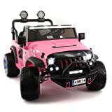Best Electric Ride On Car - Two Seater Truck 2019 includes Remote Control for Kids | Large Capacity 12V Power Battery Licensed Kid Car to Drive with 3 Speeds, Leather Seat, Rubber Tires - Blue (Color: Pink, Tamaño: Two Seater)