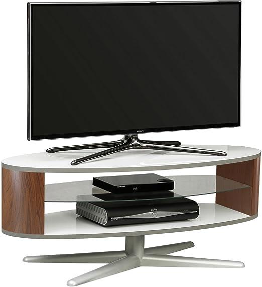 MDA Designs Orbit 1100Wwa Meuble TV Blanc brillant avec Noyer elliptique côtés pour téléviseurs à écran plat jusqu'à 139,7cm