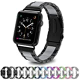 Greeninsync Compatible Apple Watch Bands Metal, Special Design Fashion Stainless Steel Wristbands Buckle Watch Strap Replacement Bracelet W/Silicone C