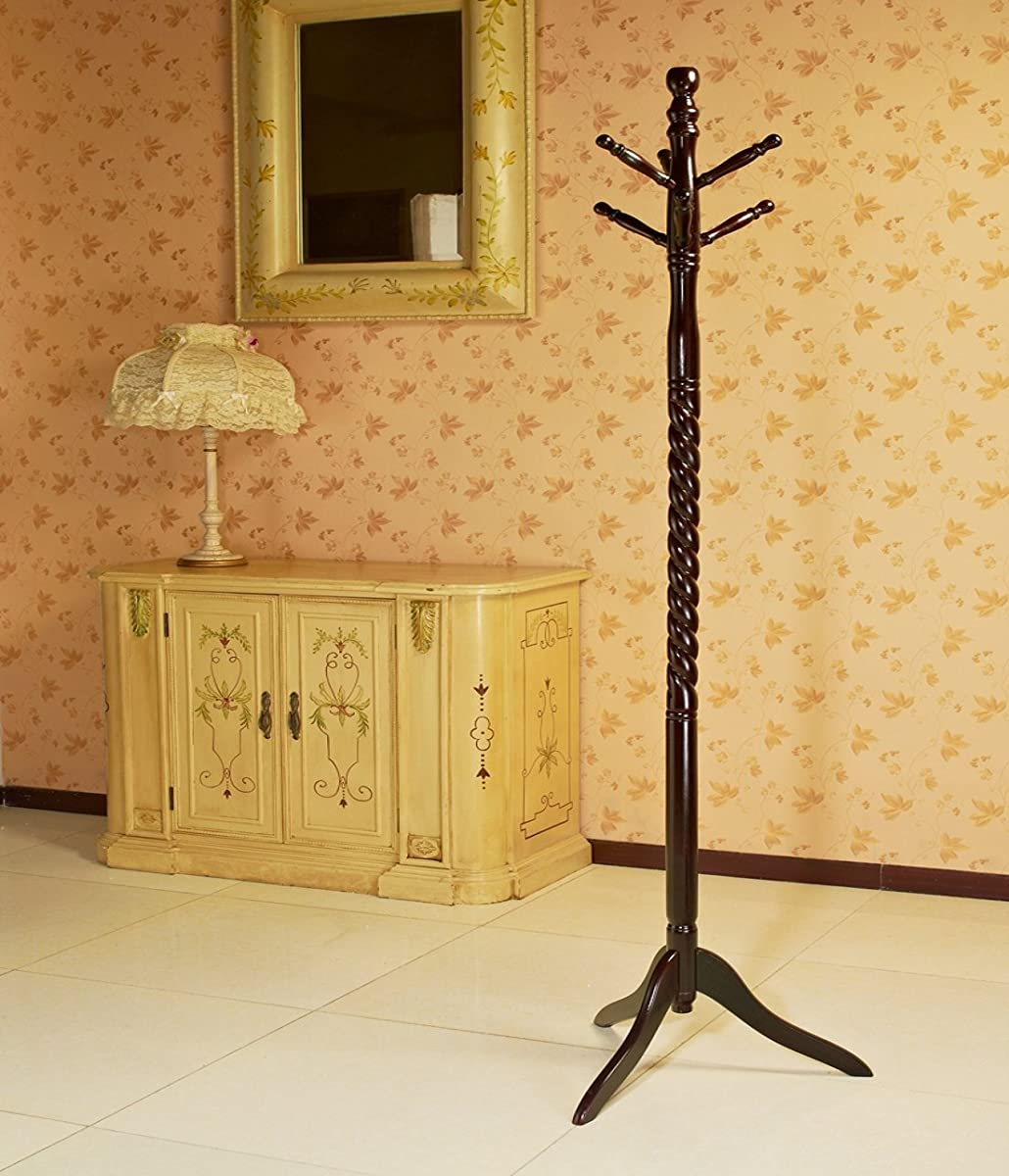 Frenchi Furniture Swivel Coat Rack Stand in Cherry Finish
