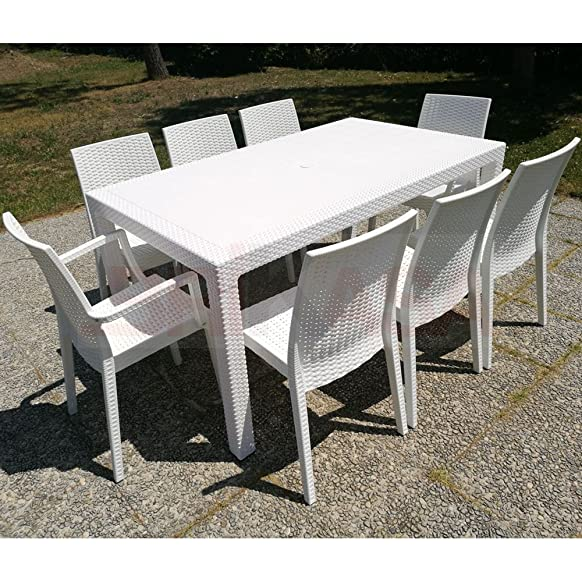 Set da Giardino Master Tavolo 160x94 con 2 Poltrone e 6 Sedie Bianco