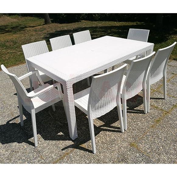 Set da Giardino Master Tavolo 160x94 con 8 Sedie Bianco