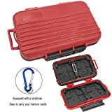 Memory Card Carrying Cases 24 Slots SD SDHC SDXC and Micro SD TF Cards Anti-shock Water-Resistant Holder Storage (Red).