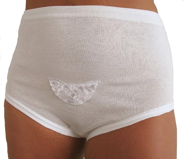6, 9, 12 oder 18er Pack Damen Hüft Slip weiß mit Spitzeneinsatz, Mamaslip, 100% Baumwolle, Mehrfachpackungen, Grössen 40/42 bis 56/58 jetzt bestellen
