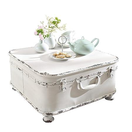 miaVILLA Table basse avec coffre intérieur en métal blanc shabby chic 50 x 50 x 25 cm