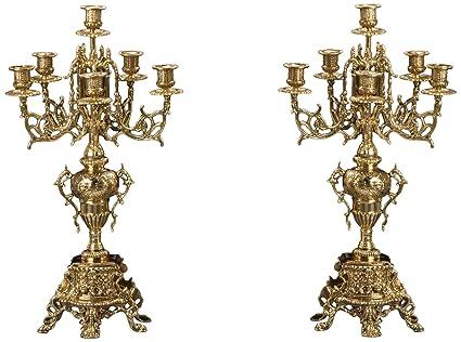 Virtus 4172 - Pareja de candelabros gigantes fabricados en bronce, 55 x 30 cm