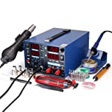 YIHUA 853D 2A USB SMD Hot Air Rework Soldering Iron Station, DC Power Supply 0-15V 0-2A with 5V USB Charging Port and 50 Volt DC Voltage Test Meter