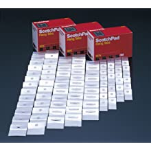 3M ScotchPad Hang Tab 1074 Clear, 1 in x 2 in (100 pads per carton/10 cartons per case)