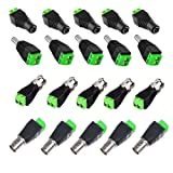 OdiySurveil(TM) 10 Pairs Pack ,5 pairs 2.1x5.5mm Jack DC Power Connector Adapter , 5 pairs Coaxial Cat5 to BNC Female Video Balun Connector,4-Type Terminal