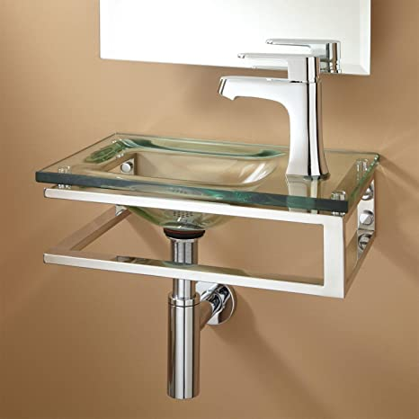 """Naiture Wall-mount Glass Sink In Clear Finish With Antique Copper Finish Pop-up Bathroom Drain - 1-1 / 2 """""""