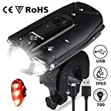 N N.ORANIE Super Bright 700 Lumens Bike Lights Front and Back Rechargeable Bike Light Set IP65 Waterproof Quick Release Headlight and Taillight Bicycle Flashlight for Safe Cycling (Color: Black)