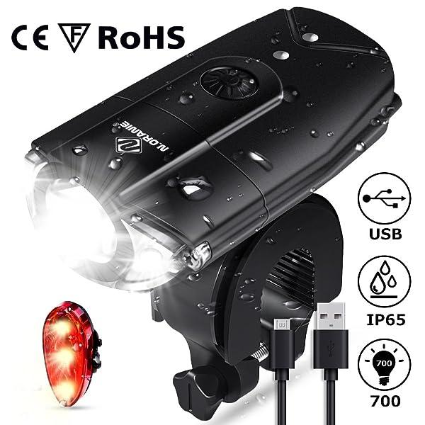 USB Rechargeable Bike Light Set 700 Lumen LED Bike Headlight with Tail Light