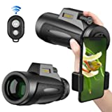 Monocular Telescopes, 12x50 Low Night Vision Spotting Scope for Adults with Cell Phone Photography Adapter and Wireless Camera Shutter Remote Control for Bird Watching/Hunting/Camping/Travelling (Color: Cblack1, Tamaño: 12*50)