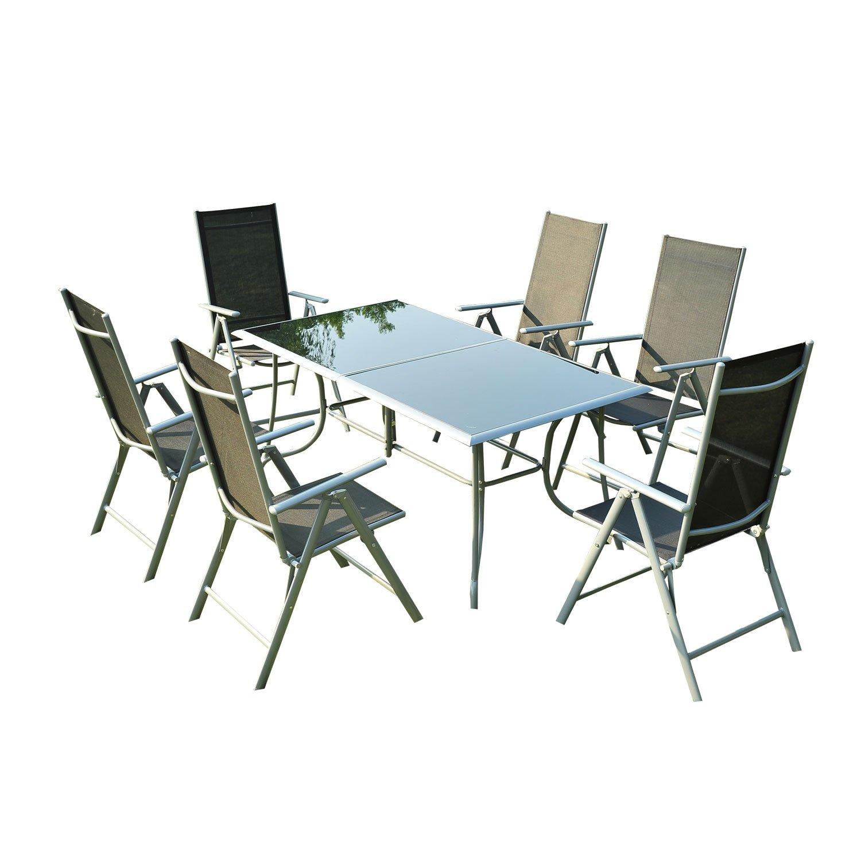 Outsunny Gartenmöbel-Sets Gartengarnitur Sitzgruppe Alu klappbar, 7-er teilig, schwarz jetzt bestellen
