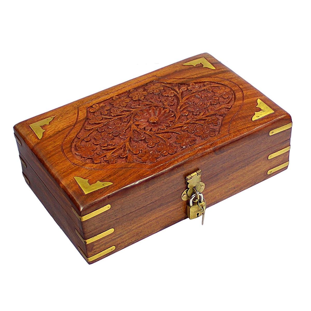 Handmade Decorative Wooden Jewelry Box With Free Lock Key Jewelry