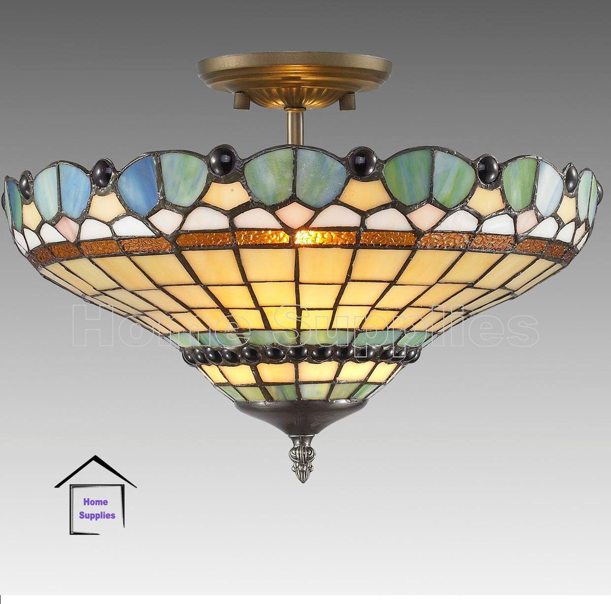 Peacock Tiffany Semi Flush Ceiling Light       review and more information