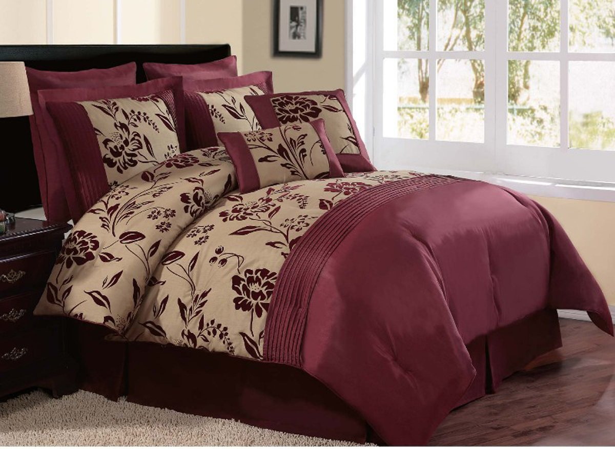 Amazon comforter sets amazon com tropical flamingos queen comforter set 4 burgundy queen for Beautiful bedroom comforter sets
