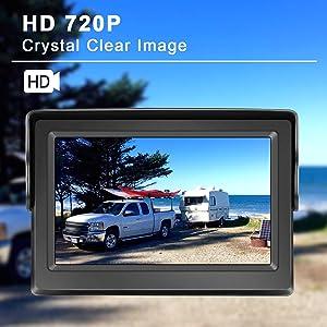 eRapta Backup Camera ERT01 with 4.3 inch Monitor License Plate Back Up Camera for Car Pickup Truck SUV Rear View Camera Backing Reverse Camera Crystal Clear Image IP69 Waterproof Nice Night Vision (Color: Gray)