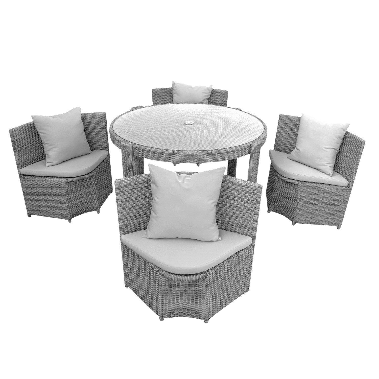 Gartenmöbel Sitzgruppe Möbel Balkon Terrasse Polyrattan 1 Tisch + 4 Stühle + Polster - Grau