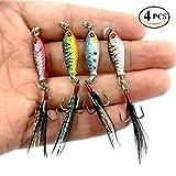 Tanchen 4Pcs 7.5CM 6.5G Colorful Metal Fishing Lures Minnow Poper Baits Tackle Crankbait Feather Hooks (4Pcs) (Color: 4Pcs)