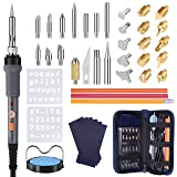 43PCS Wood Burning Kit, Woodburning Tool with Soldering Iron, Wood Burning/Soldering/Carving/Embossing Tips, Stand, Pencil, Carbon Transfer Paper, Stencil, Carrying Case (Color: Grey, Tamaño: 43PCS)