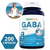 Best GABA 1125mg 200caps (Non-GMO & Gluten Free) Gamma Aminobutyric Acid - Supports Positive Mood and Relaxation, Naturals Sleep Aid - Made in USA - 100% Money Back Guarantee!