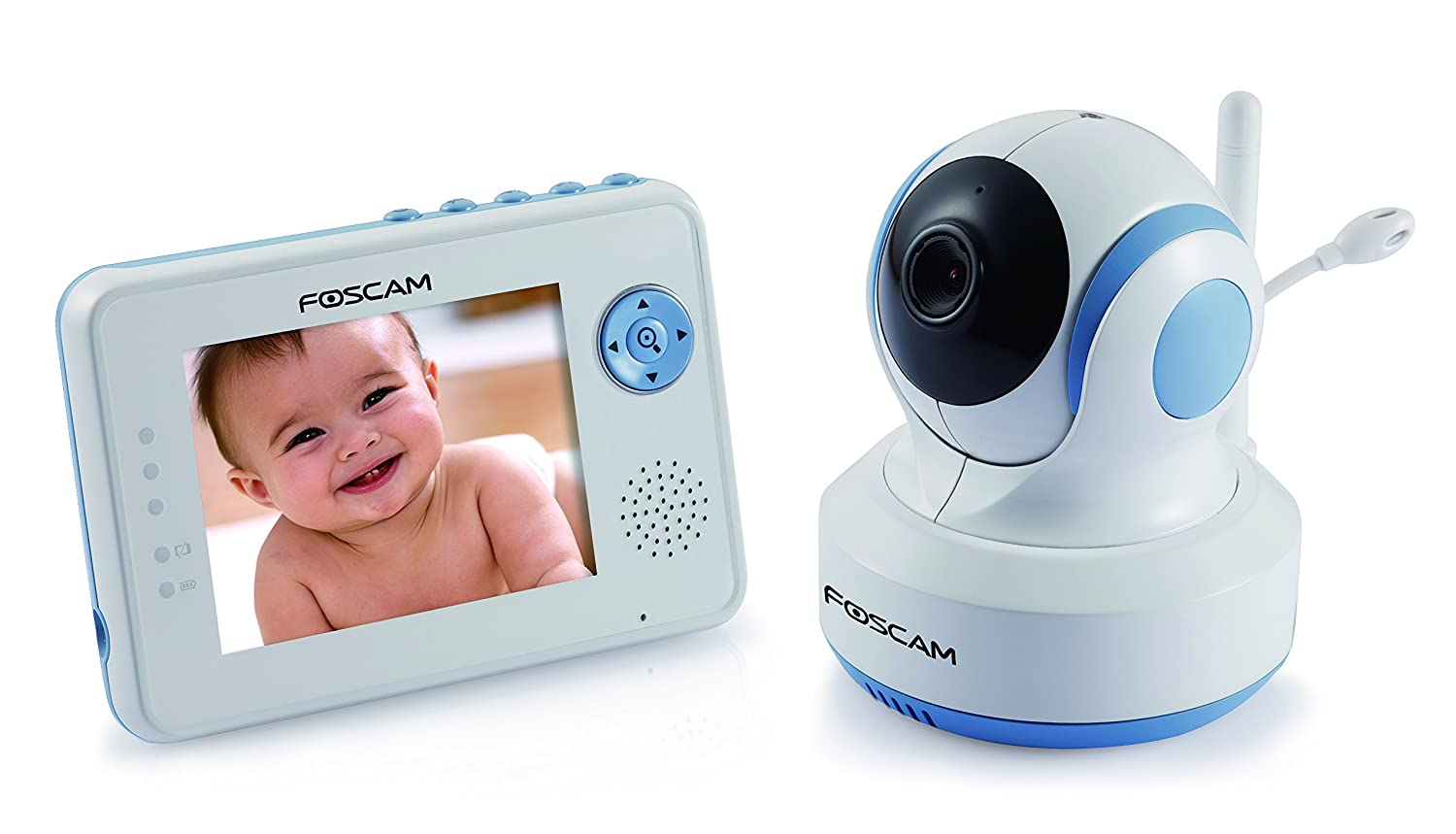 Foscam FBM3502 Digital Video Baby Monitor, Auto Motion Tracking, White/Blue