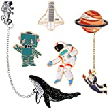 Cute Robot Enamel Brooch Pin Set - 5 pcs Colorful Pins Badges for Girls Boys Women Clothes Backpacks Decor (Color: red)