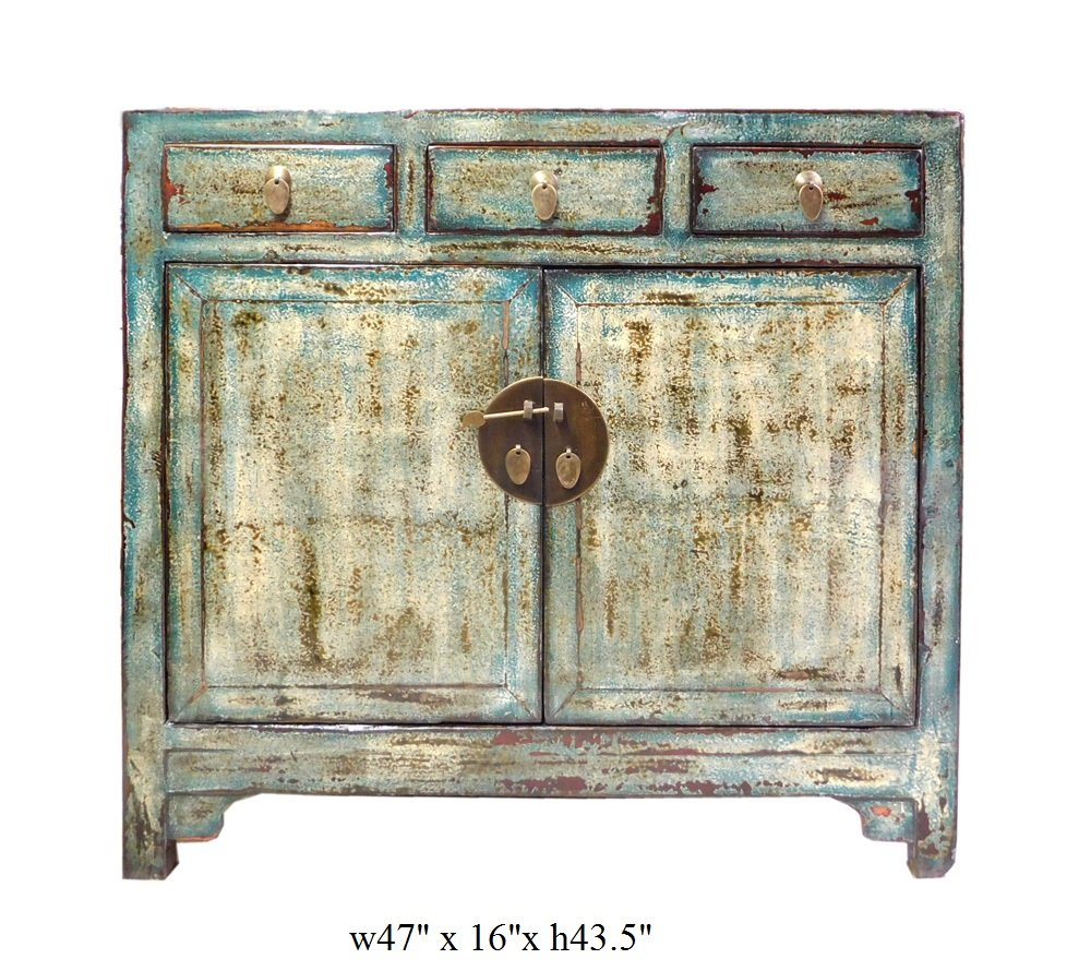 Chinese Distressed Blue Side Tall Credenza Table Cabinet Acs1695 6