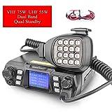 Ham Radio Transceiver VHF 75W UHF 55W Mobile Radio Dual Band Quad Standby Transceiver Amateur Radio Transceiver Two Way Radio for Car By SOCOTRAN Programming Black (Color: Black, Tamaño: Medium)