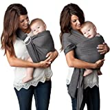 4 in 1 Baby Wrap Carrier and Ring Sling by Kids N' Such   Charcoal Gray Cotton   Use as a Postpartum Belt and Nursing Cover with Free Carrying Pouch   Best Baby Shower Gift for Boys or Girls (Color: Charcoal, Tamaño: Large)