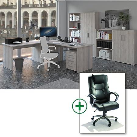 Arbeitszimmer Komplett Set Phoenix 9-teilig in Sonoma-Eiche / Sorrento Dekor inklusive Burostuhl