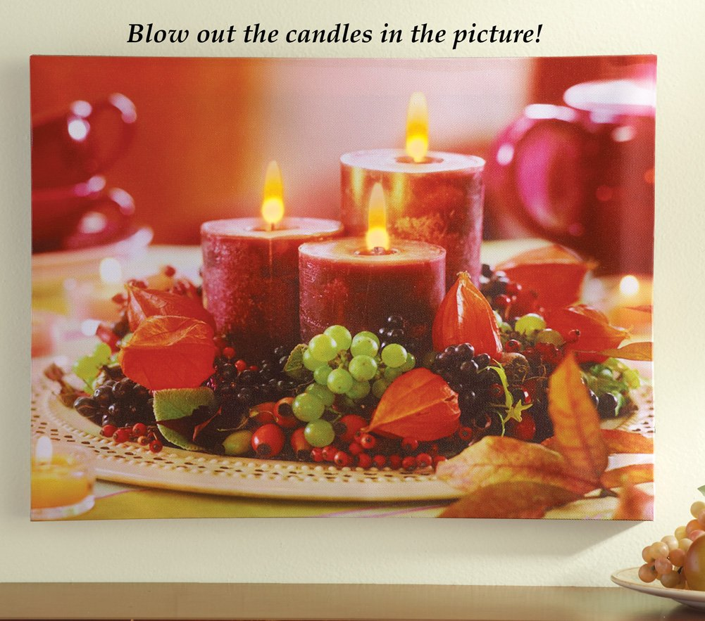Led Lighted Holiday Interactive Candle Wall Canvas Art