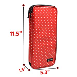 Teamoy Tunisian Crochet Hook Case(up to 11 Long), Travel Organizer Bag for Afghan Crochet Hooks, Ergonomic Crochet Hooks, Knitting Needles and Accessories, Well Made, Large Capacity, Red Dots (Color: Red Dots, Tamaño: Medium)