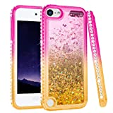 iPod Touch 5 6 7 Case, iPod Touch 5th 6th 7th Generation Case for Girls, Ruky Quicksand Series Glitter Flowing Liquid Floating Bling Diamond Flexible TPU Cute Case for iPod Touch 5 6 7 (Pink Gold) (Color: Pink Gold)